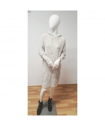 Rochie pulover cu gluga gri