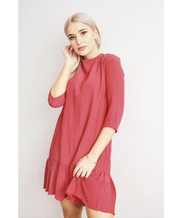 Rochie rosie cu buline si...