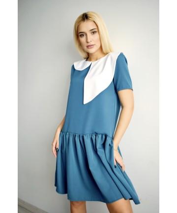 Rochie albastra cu guler...