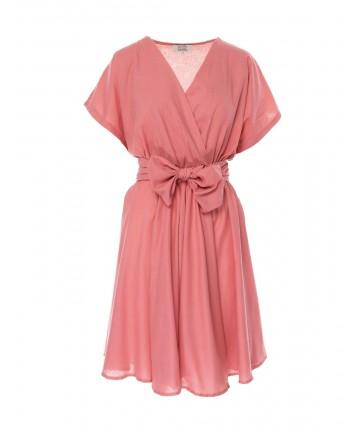 Rochie roz cu maneci kimono
