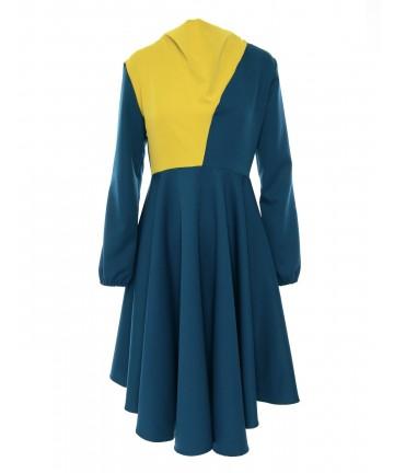 Rochie albastra colorblock...