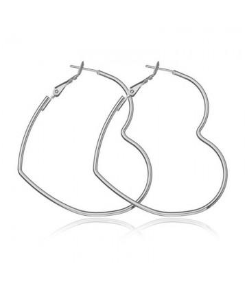 Cercei Silver Hearts Hoop